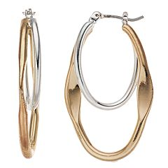 Napier Two Tone Oval Hoop Earrings
