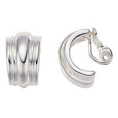Napier Silver Tone Semi Hoop Clip On Earrings