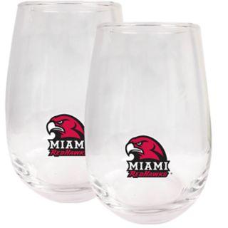 Miami RedHawks Stemless Wine Glass Set