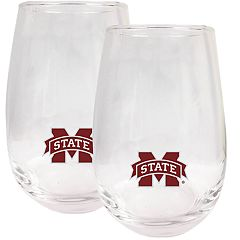 Mississippi State Bulldogs Stemless Wine Glass Set