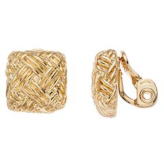 Napier Textured Square Clip On Earrings