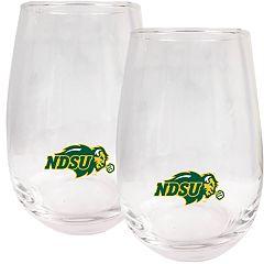 North Dakota State Bison Stemless Wine Glass Set