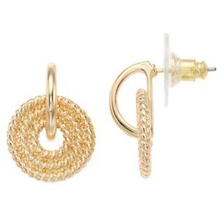 Napier Doorknocker Textured Hoop Earrings