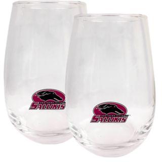 Southern Illinois Salukis Stemless Wine Glass Set