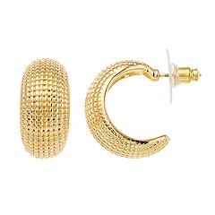 Napier Textured C-Hoop Earrings.