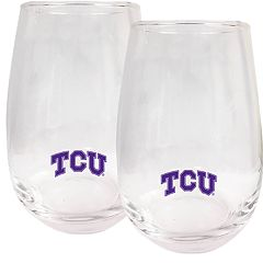 TCU Horned Frogs Stemless Wine Glass Set