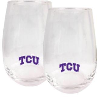 TCU Horned Frogs Stemless Wine Glass Set