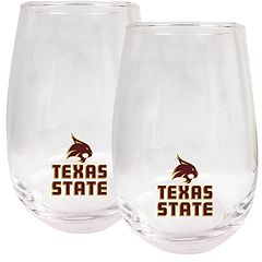 Texas State Bobcats Stemless Wine Glass Set