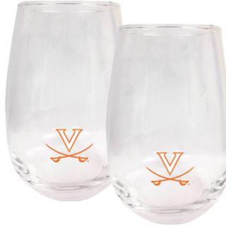 Virginia Cavaliers Stemless Wine Glass Set