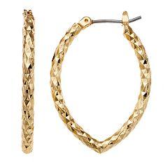 Napier Textured Oval Hoop Earrings