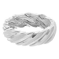 Napier Textured Silver Tone Stretch Bracelet