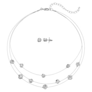 Napier Multi Strand Silver Tone Knot Necklace & Stud Earring Set