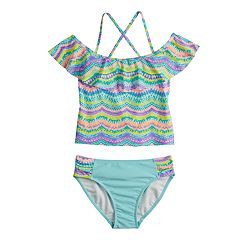 Girls 7-16 SO® Ocean Moves Ruffled Tankini Top & Bottoms Swimsuit Set