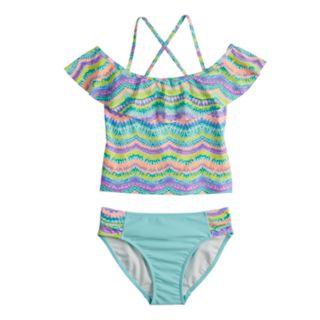Girls 7-16 SO® Ocean Moves Ruffled Tankini Top & Bottoms Swimsuit Set