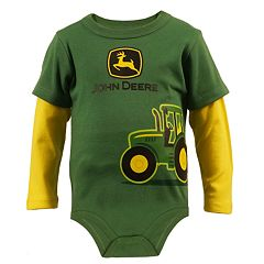 Baby Boy John Deere Tractor Mock-Layered Bodysuit