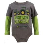 "Baby Boy John Deere ""Just Like Grandpa"" Mock-Layered Bodysuit"