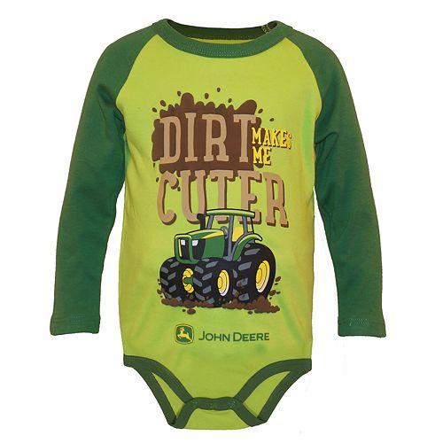 "Baby Boy John Deere ""Dirt Makes Me Cuter"" Bodysuit"