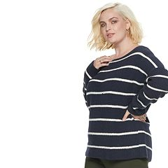 Plus Size POPSUGAR Striped Oversized Sweater