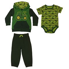 Baby Boy John Deere French Terry Jacket, Bodysuit & Pants Set