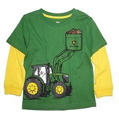 Baby Boy John Deere Tractor Mock-Layered Graphic Tee