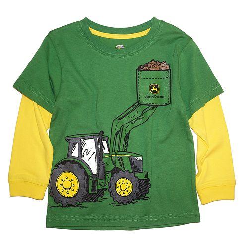 d9318ec94 Baby Boy John Deere Tractor Mock-Layered Graphic Tee