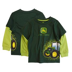Baby Boy John Deere Tractor Mock-Layered Graphic Wrap Tee