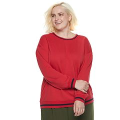 Plus Size POPSUGAR Striped-Trim Sweatshirt