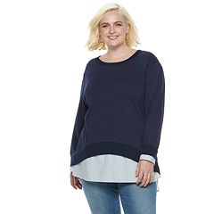Plus Size POPSUGAR Mock-Layer Sweatshirt