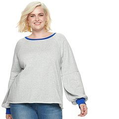 Plus Size POPSUGAR Colorblock Balloon-Sleeve Sweatshirt