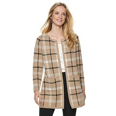 Women's ELLE™ Print Open-Front Long Cardigan Jacket
