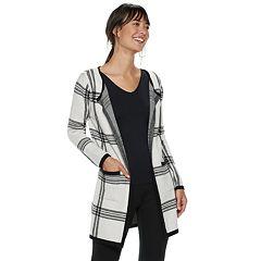 Women's ELLE™ Print Open-Front Long Cardigan Jacket