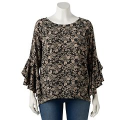 Plus Size LC Lauren Conrad Ruffle Sleeve Split-Back Top