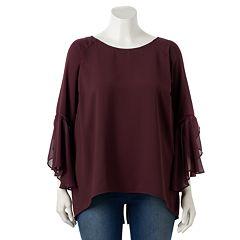 Plus Size LC Lauren Conrad Ruffle Sleeve Split-Back Top