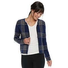 Women's ELLE™ Grid Open-Front Cardigan Jacket