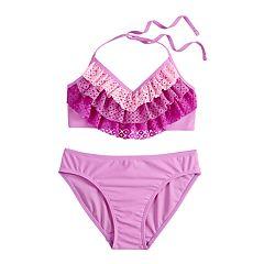 Girls 7-16 SO® Magic Waterfalls Halter Bikini Top & Bottoms Swimsuit Set
