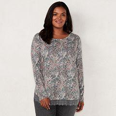 Plus Size LC Lauren Conrad Lace-Hem Tunic