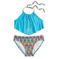 Girls 7-16 SO® Pineapple Paradise Halter Top & Bottoms Swimsuit Set