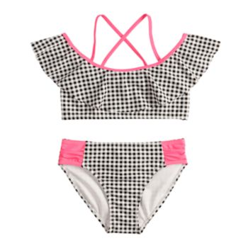 Girls 7-16 SO® Picnic Party Gingham Check Off-the-Shoulder Bikini Top & Bottoms Swimsuit Set