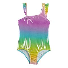 Girls 4-6x SO® Ocean Dreams Shine Rainbow Asymmetrical One-Piece Swimsuit