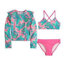 Girls 7-16 SO® Palms Party Rashguard, Top & Bottoms Bikini Swimsuit Set