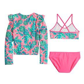 Girls 7-16 SO® Palms Party Rashguard, Top & Bottoms Bikini Swimsuit Set