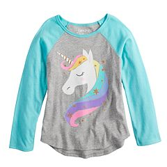 Girls 4-10 Jumping Beans® Glittery Unicorn Raglan Tee