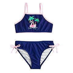Girls 4-6x SO® Floatie Fun Flamingo & Palm Tree Bikini Top & Bottoms Swimsuit Set