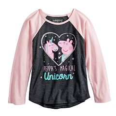 Girls 4-10 Jumping Beans® Peppa Pig & Unicorn Glittery Heart Graphic Tee