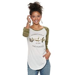 Juniors' 'Something Wonderful is on the Horizon' Camo Raglan Tee