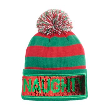 "Men's ""Naughty/Nice"" Striped Beanie"