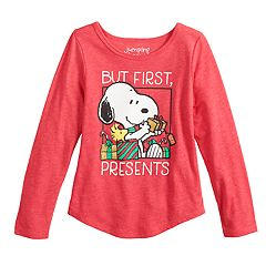 Girls 4-10 Jumping Beans® Peanuts Snoopy 'But First, Presents' Graphic Tee