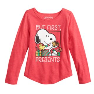 """Girls 4-10 Jumping Beans® Peanuts Snoopy """"But First, Presents"""" Graphic Tee"""