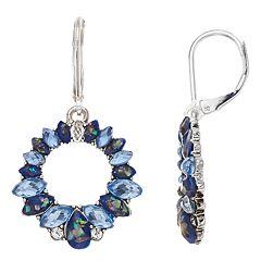 Napier Blue Hoop Drop Earrings