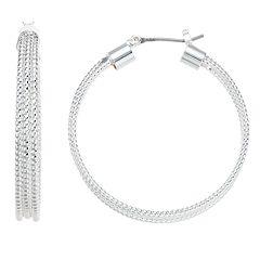 Napier Multi-Row Textured Hoop Earrings